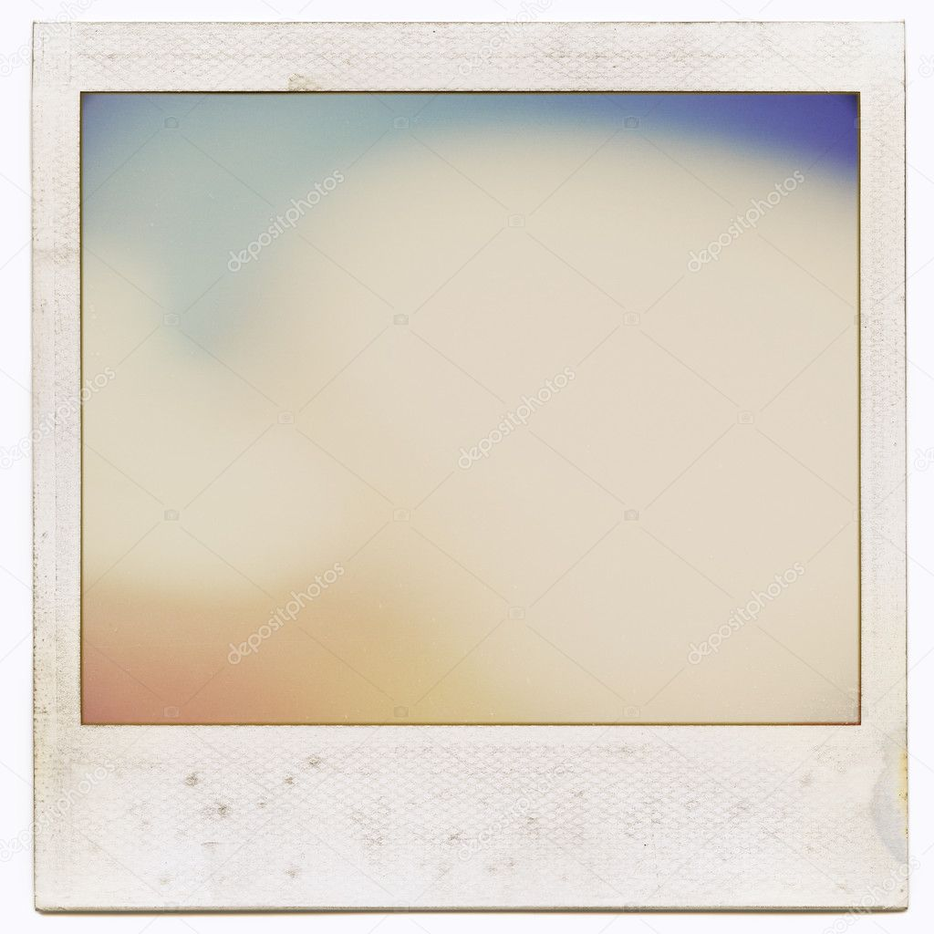 designed grungy instant film frame with abstract filling isolated on white kind of background vintage hard grain effect added photo by dingalt