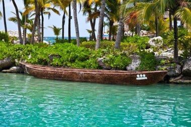 Moored Mayan Canoe