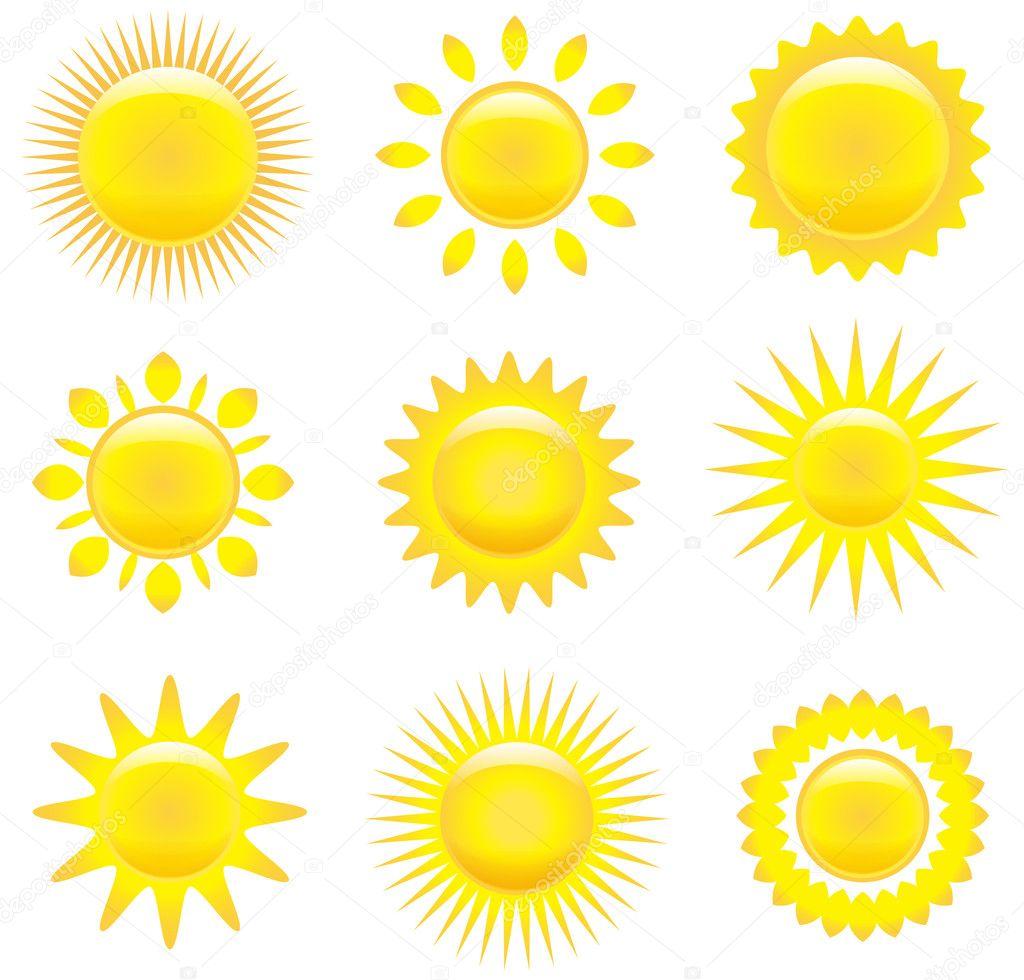 Set of shining suns