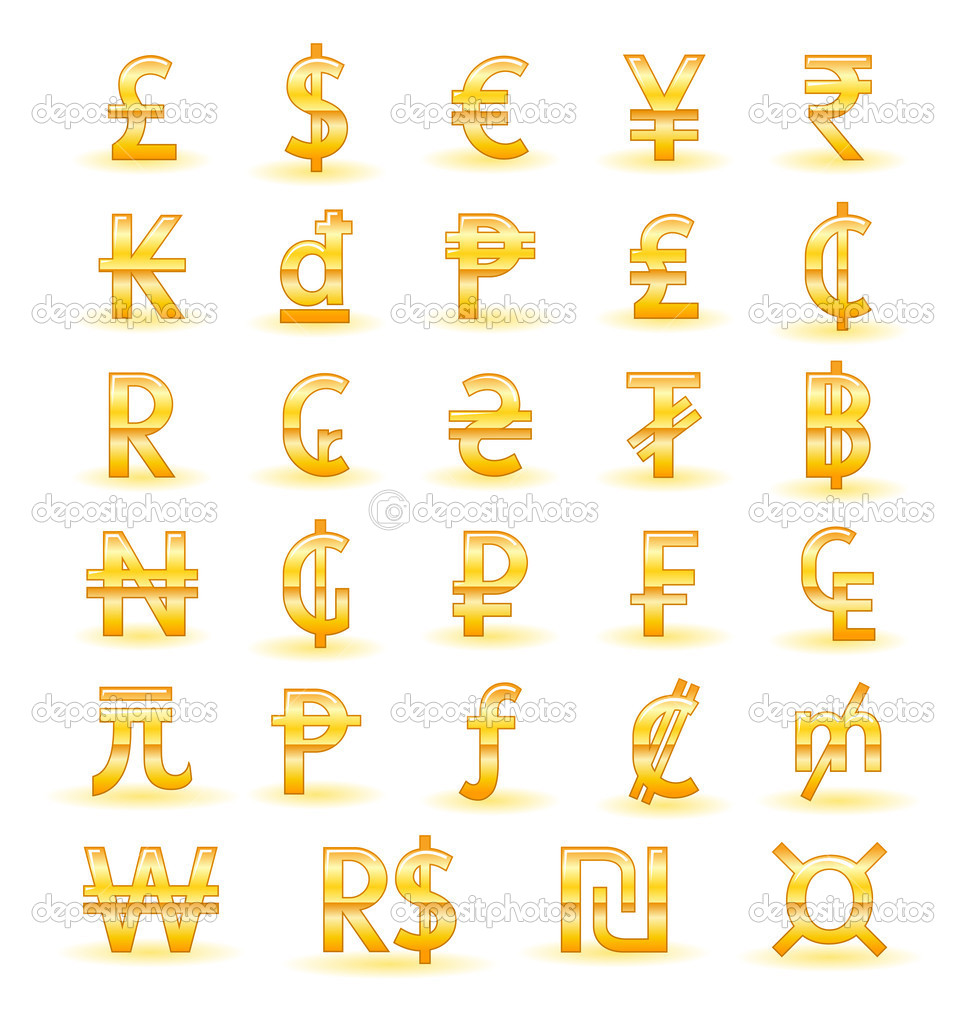 Golden Currency Symbols Of The World Stock Vector Bastetamon