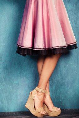 Wedge high heel shoes