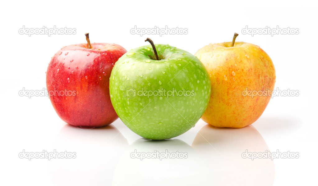 Green, Yellow and Red Apples with Dewdrops