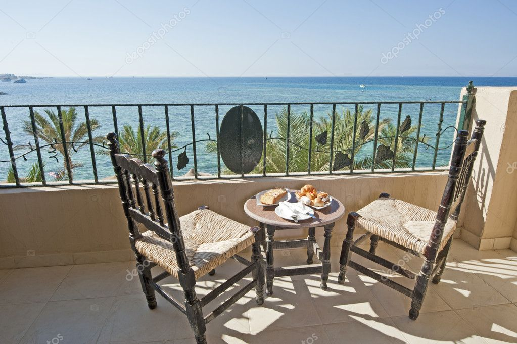 Tropical sea view from a balcony