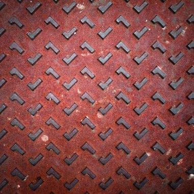Red Grunge Rusty Steel Floor Plate