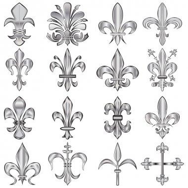 Vector set of metal Fleur-de-lis on white clip art vector