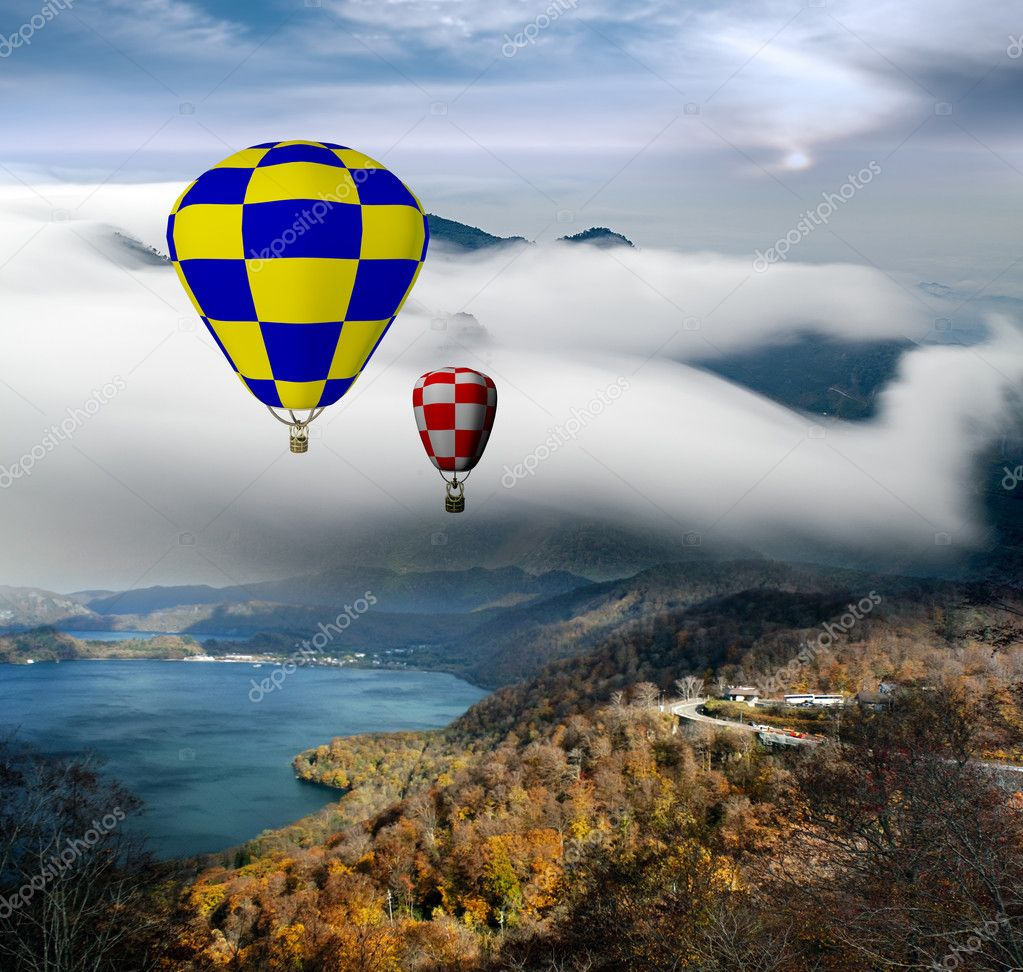 Greece style building with colorful hot air balloons