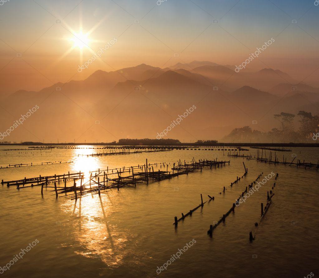 Beautiful sunset with nice mountain