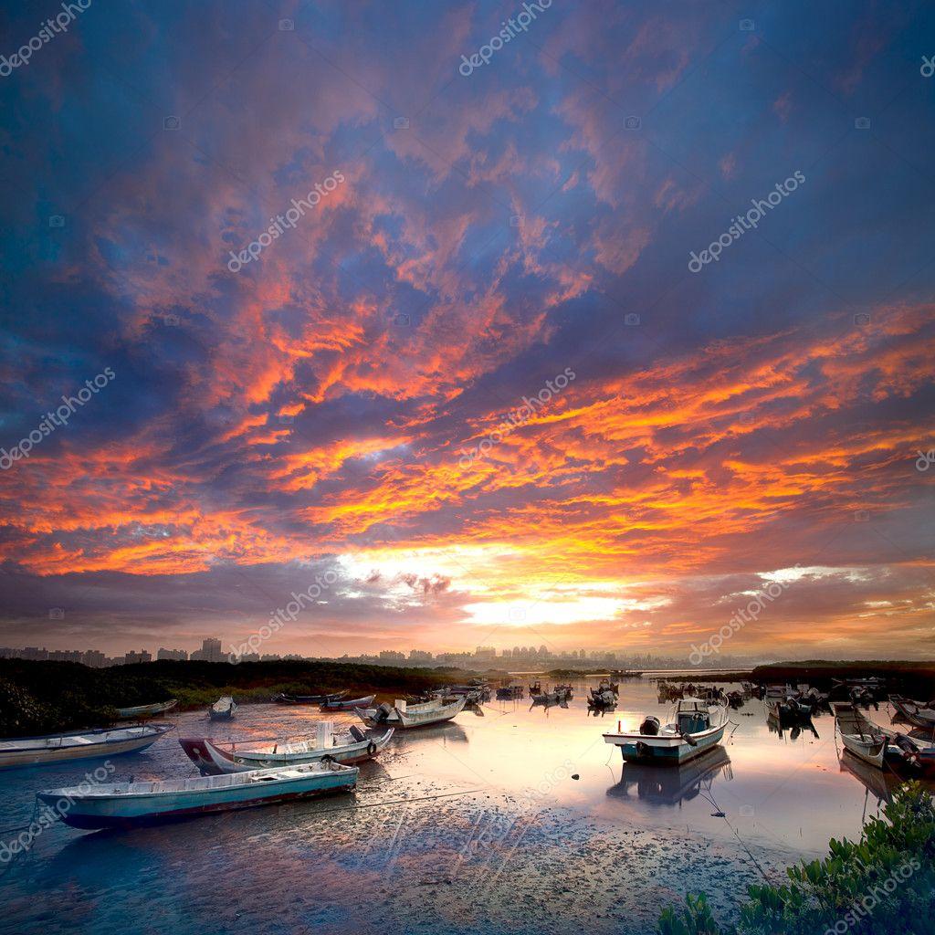 Last sunrise and fishing sub-dug