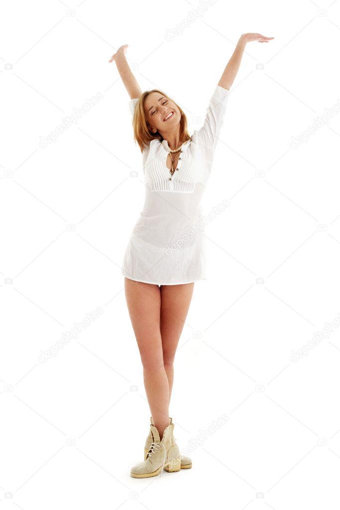 A fehér ruha és csizma boldog lány képe — Stock Fotó ... 8716281824