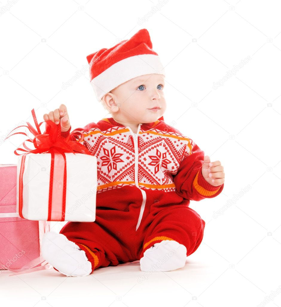 Santa helper baby with christmas gifts — Stock Photo ...