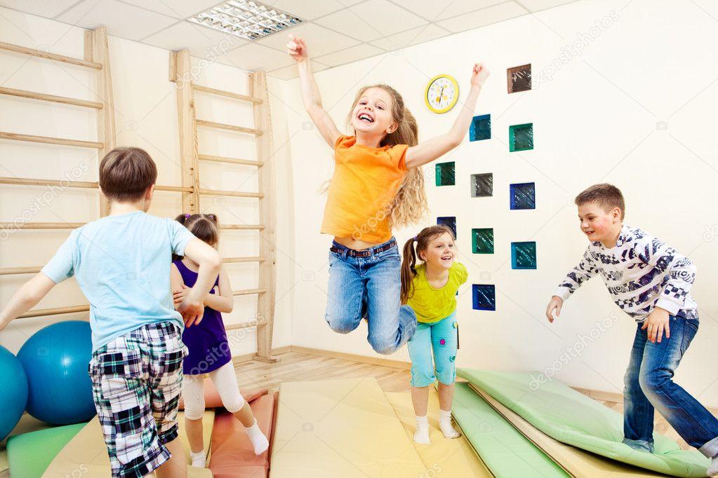 Children enjoying gym class