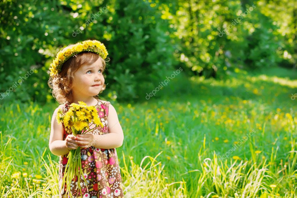 Girl with floral head wreath