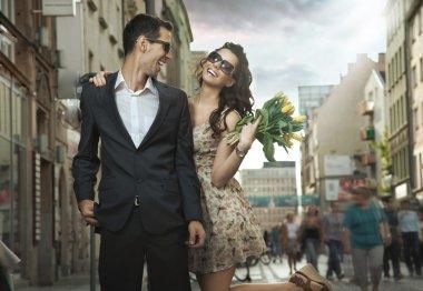 Happy couple dating stock vector