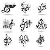 Hudebniny. sada prvků návrhu hudby nebo ikony