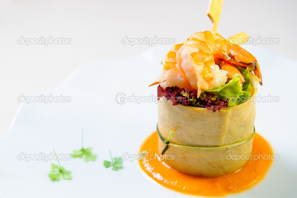 Delicious dish with prawn on a plate