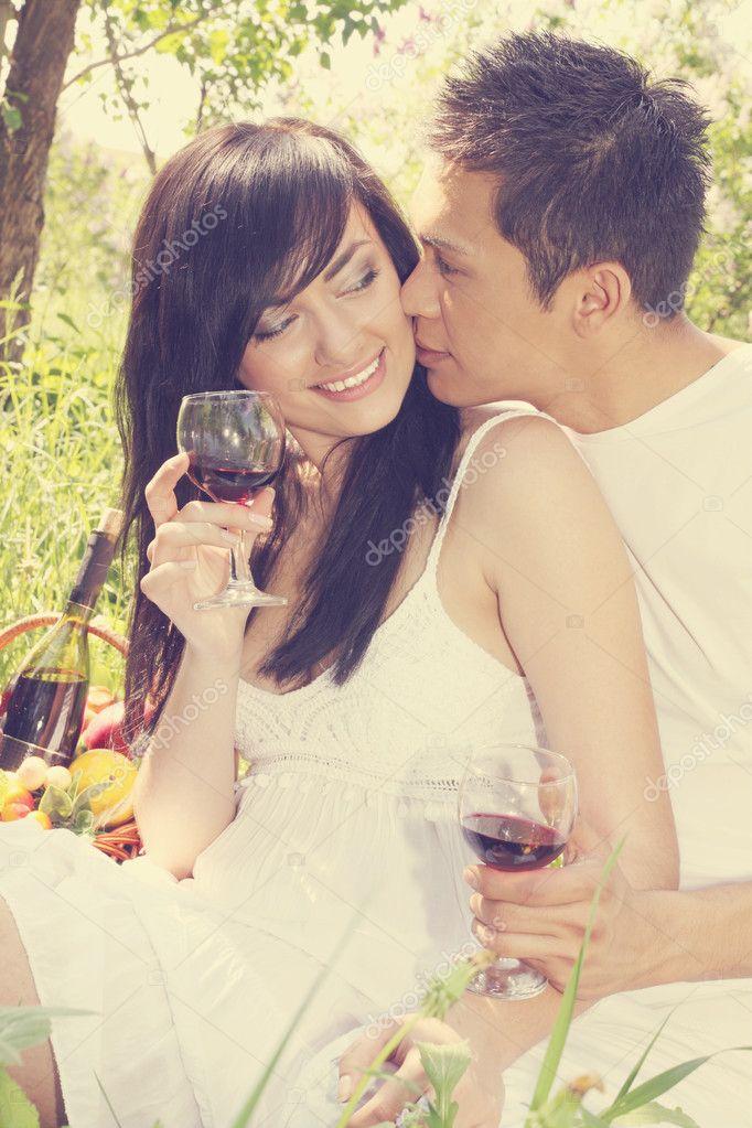 Guy kisses a girl