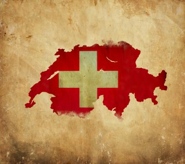 Vintage map of Switzerland on grunge paper