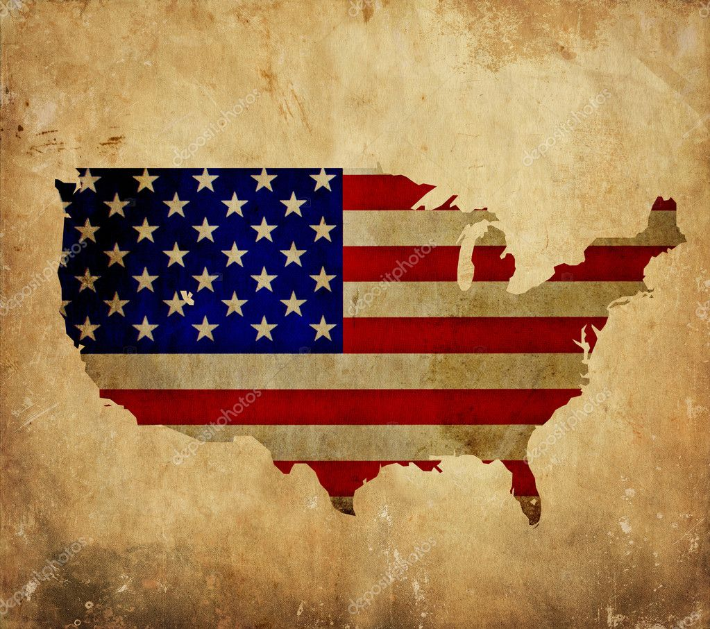Vintage Map Of United States Of America On Grunge Paper  Stock - Map of united states download