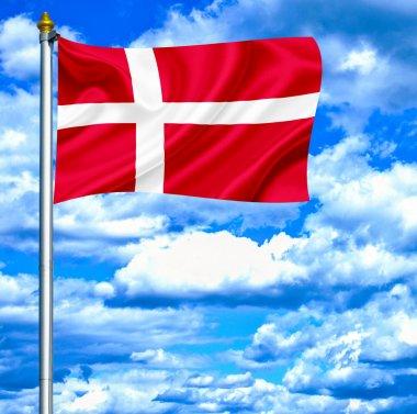 Denmark waving flag against blue sky