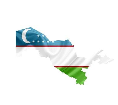 Map of Uzbekistan with waving flag isolated on white