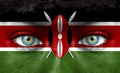 Photo Human face painted with flag of Kenya