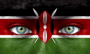 Human face painted with flag of Kenya