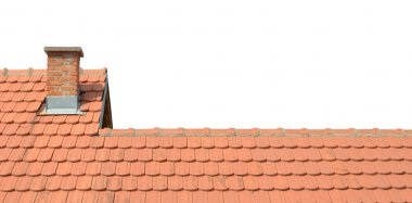 Roof with tiles and chimney isolated on white background stock vector