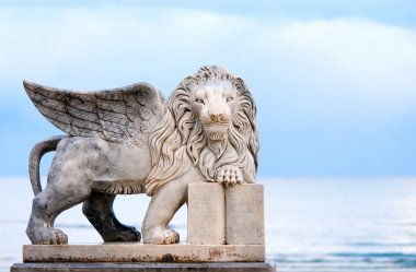 Winged lion statue