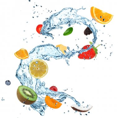 Fruit in water splash