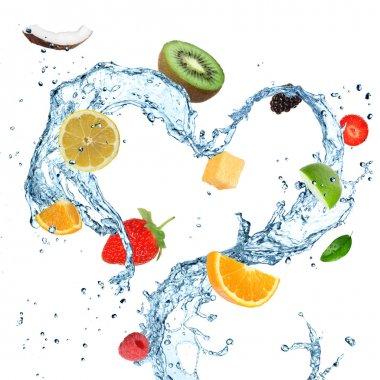 Fruit in water splash heart