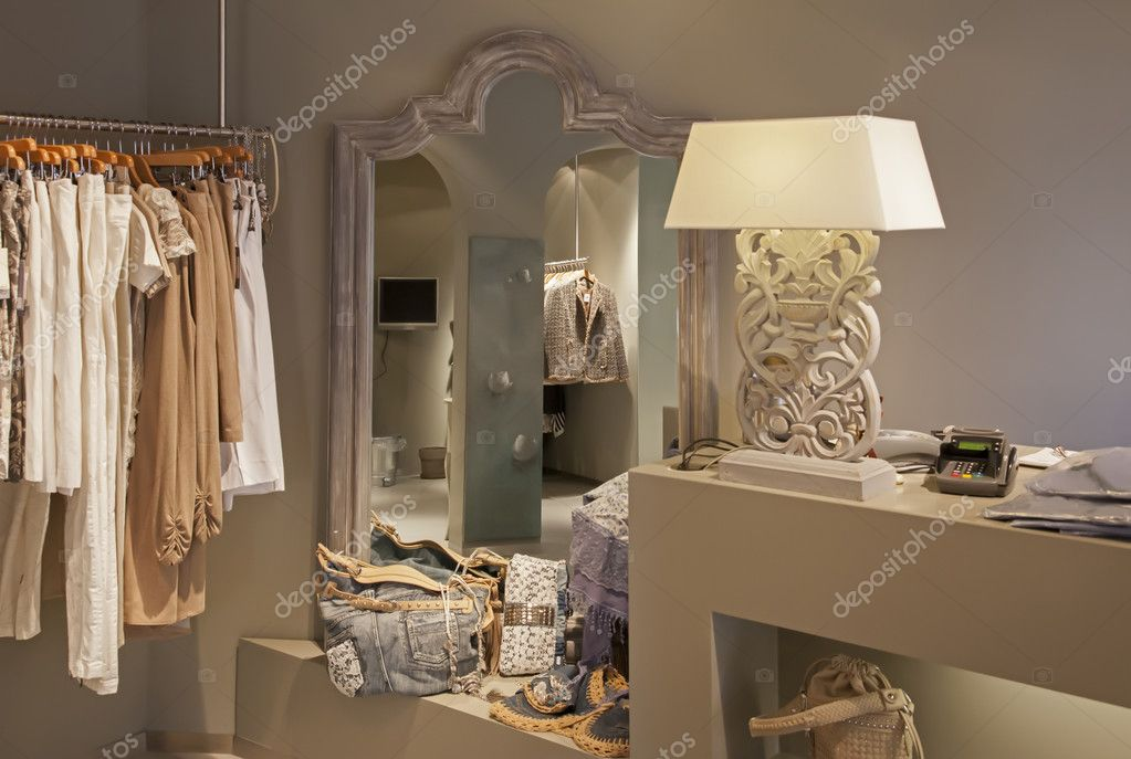 Clothes in fashion shop