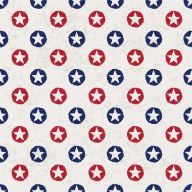 Seamless polka dot pattern with stars in american national flag