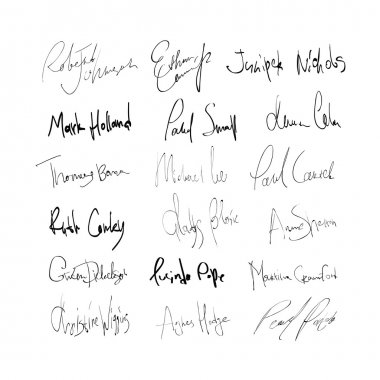 Signatures of mans and womans abstract names. On transparent bac