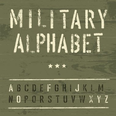 Military Vintage Alphabet. Vector, EPS10