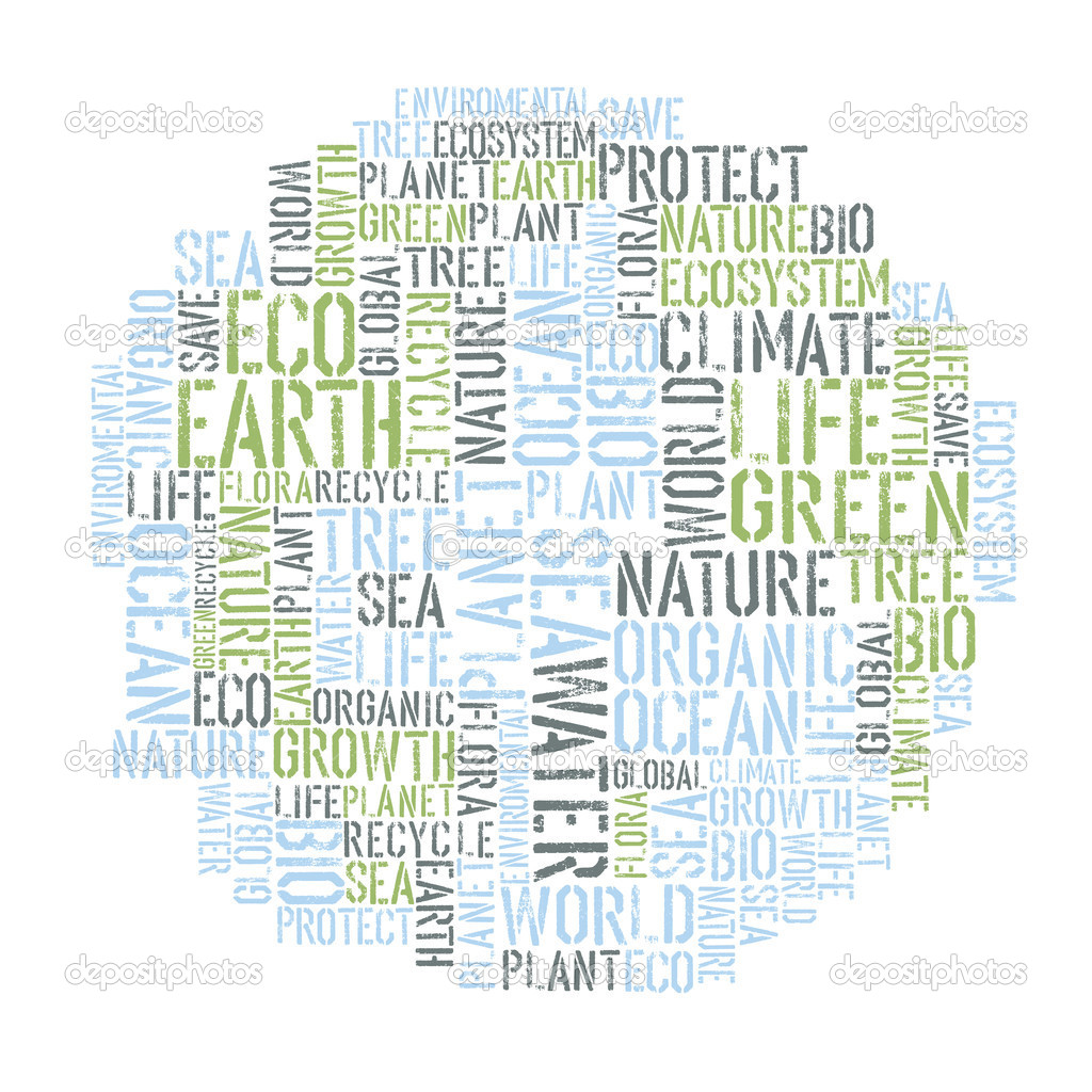 Ecology Earth concept word collage. Environmental poster design