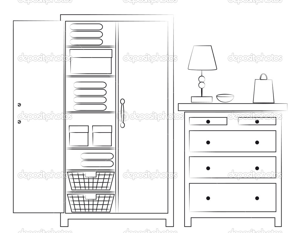 Sketch of wardrobe and chest of drawers — Stock Photo