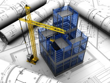 New modern project of building with crane stock vector
