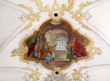 """Картина, постер, плакат, фотообои """"фреска в церкви святого петра в мюнхене """", артикул 11793474"""