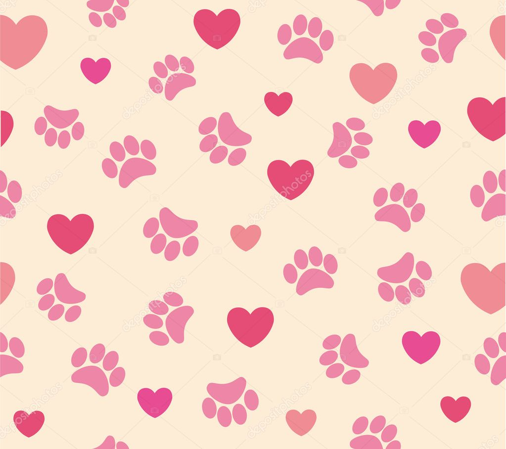 Background animal footprints and heart illustration