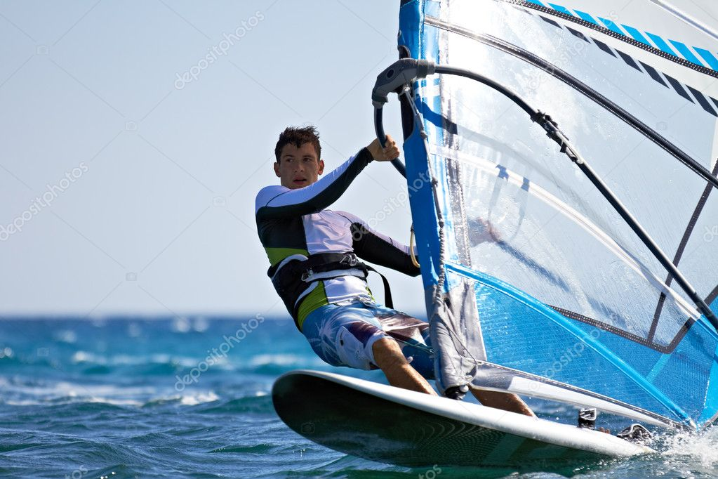Front view of young windsurfer close-up