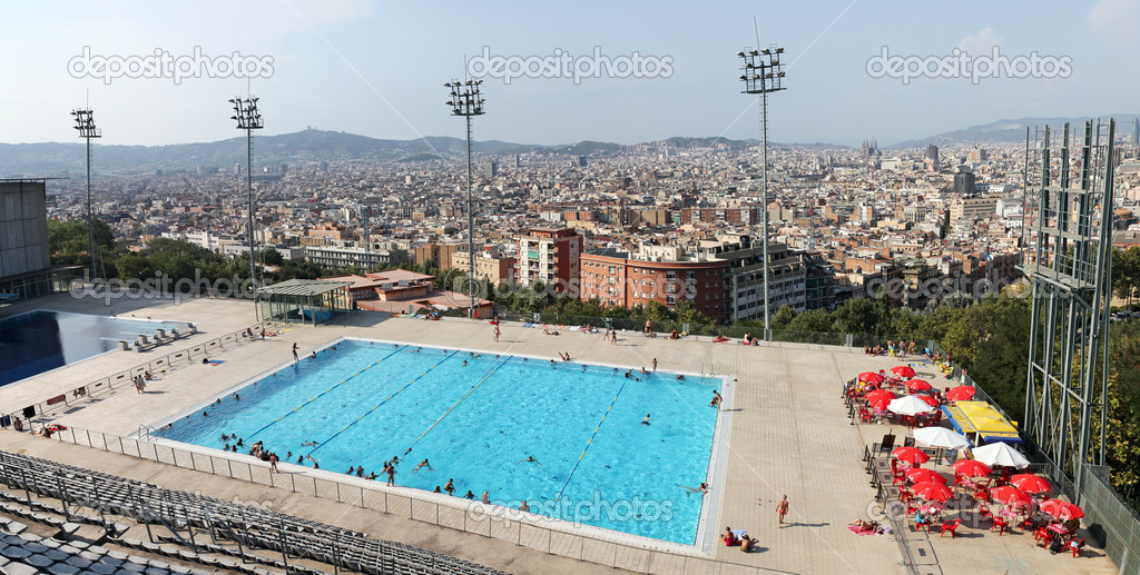 Olympic swimming pool in barcelona spain stock for Swimming pool show barcelona