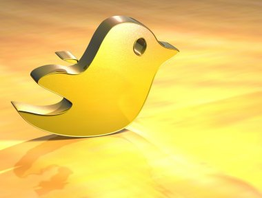 3D Social Network Tweet Gold Sign