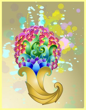 Golden horn of plenty with floral patterns.