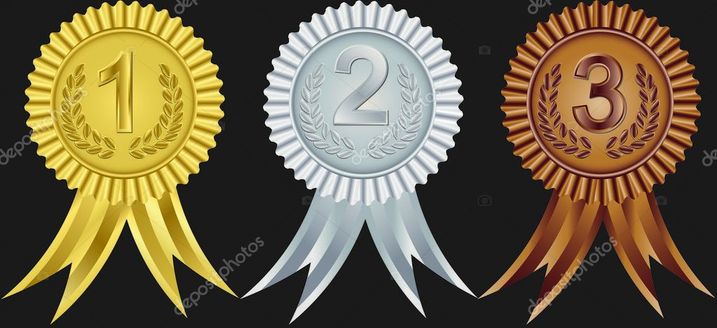 Award Ribbons For First, Second And Third Place, Vector