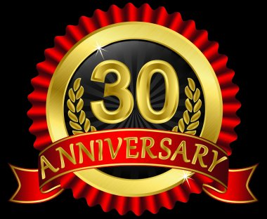 30 years anniversary golden label with ribbons, vector illustration