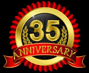 35 years anniversary golden label with ribbons, vector illustration