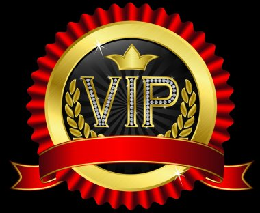 Vip golden label with diamonds and red ribbons, vector