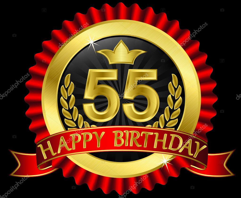 grattis på 55 årsdagen 55 år Grattis gyllene etikett med band, vektor illustration  grattis på 55 årsdagen