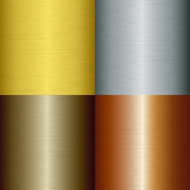 Brushed metal set, vector illustration