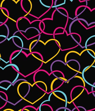 Valentine seamless pattern with color hearts clip art vector